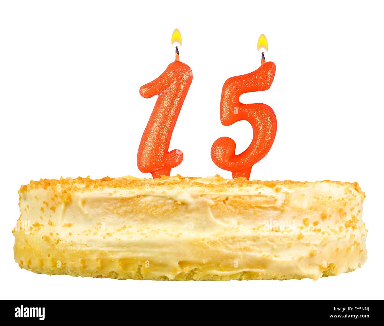 Geburtstagstorte Mit Kerzen Nummer Funfzehn Isoliert Auf Weissem Hintergrund Stockbild