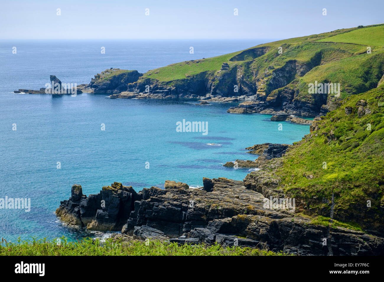 Blick auf Küste Cornwalls aus South West Coast Path oben Housel Bay, Lizard Halbinsel, West Cornwall, UK im Stockbild