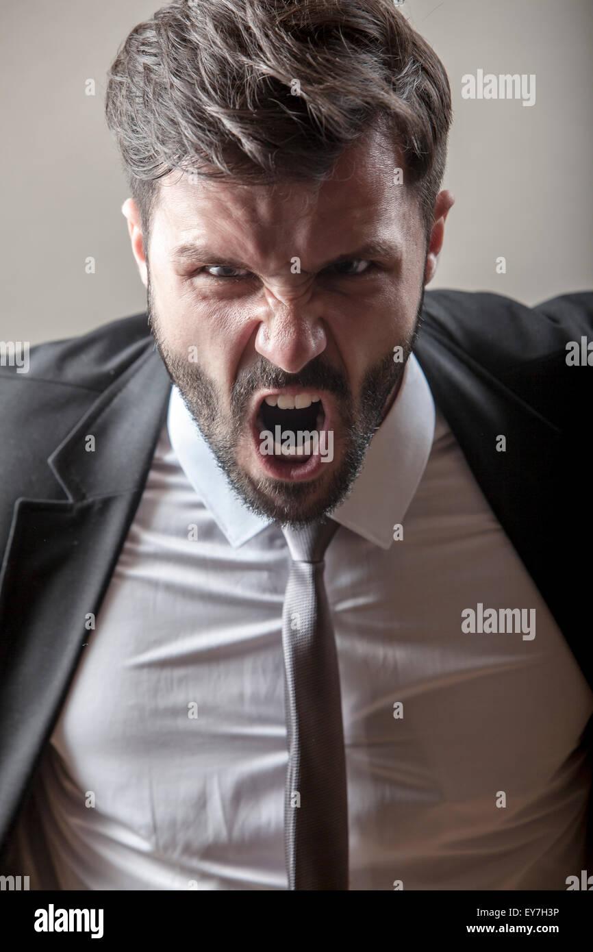 Porträt des Kaufmanns schreien Stockbild