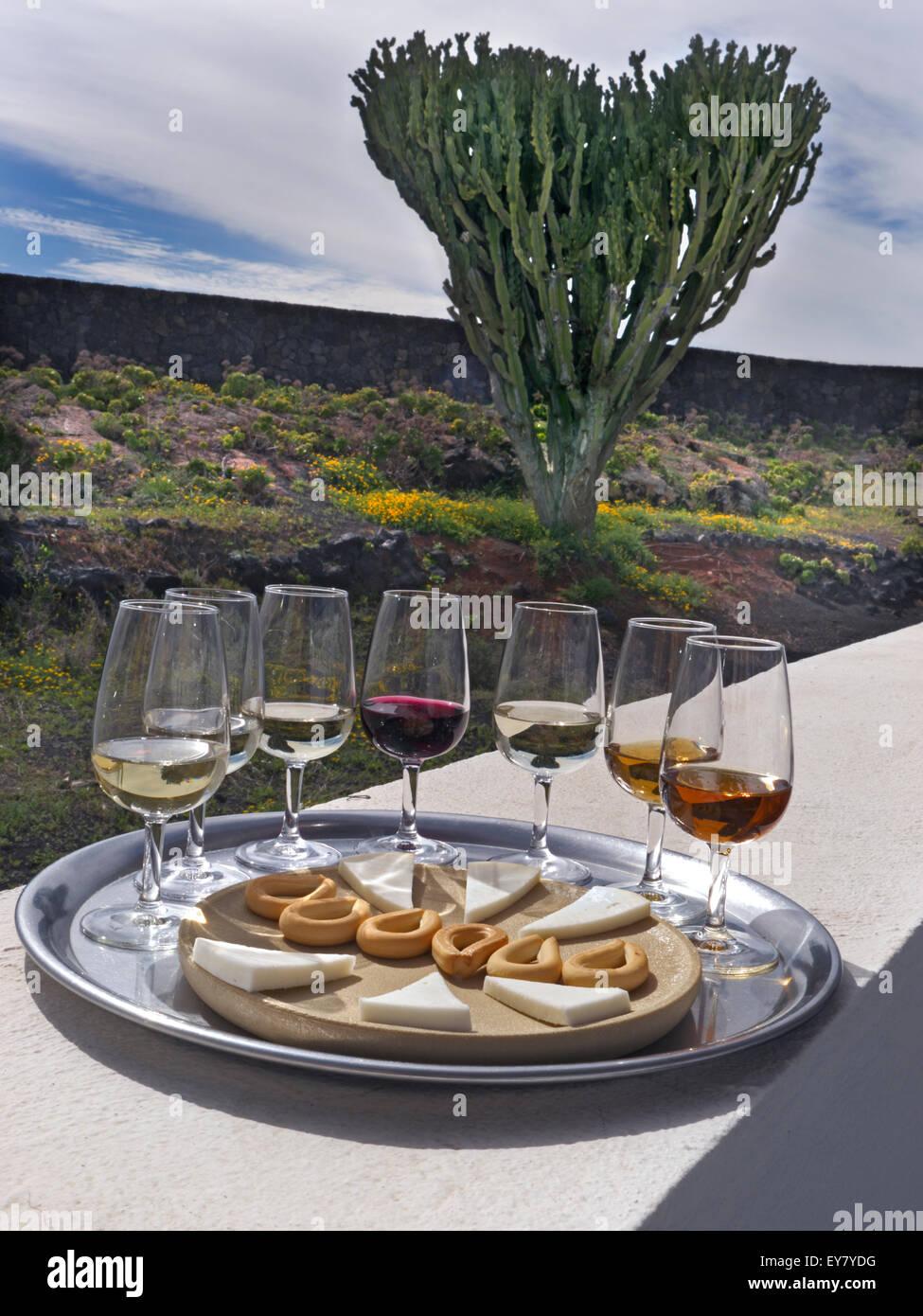 Alfresco sonniger Wein Verkostung Lage mit roten und weißen Weine, Käse und Hundekuchen im Weingut Garten Stockbild