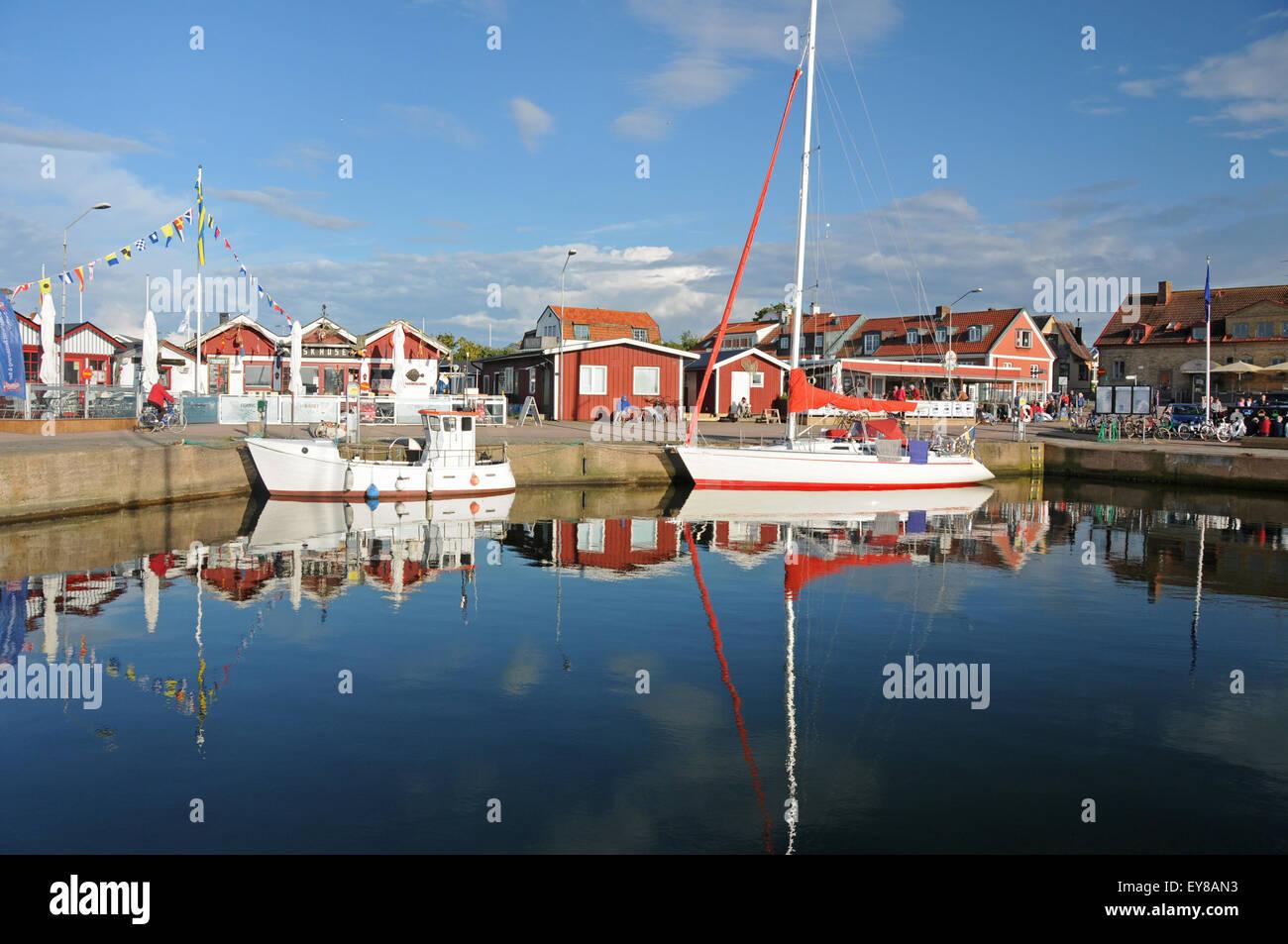 Hafen und Boote an der Westküste Dorf von Torekov in Skane in Südschweden Stockbild