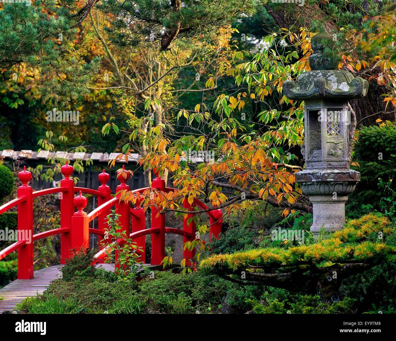 Rote br cke japanische laterne herbst japanische - Japanische garten ...