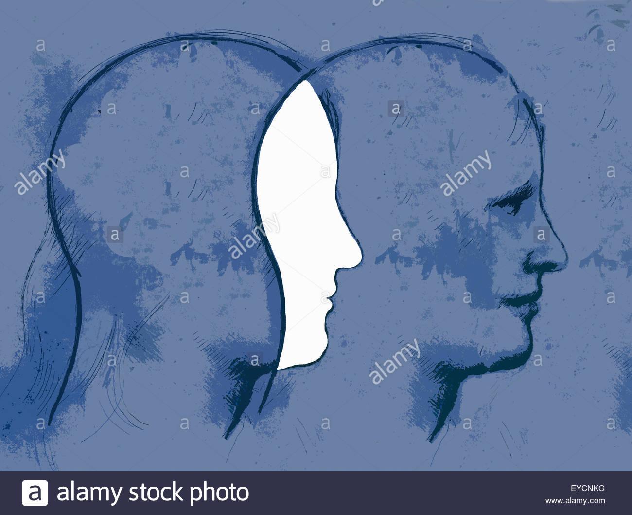Überlappende Profile der Kopf des Mannes Stockbild