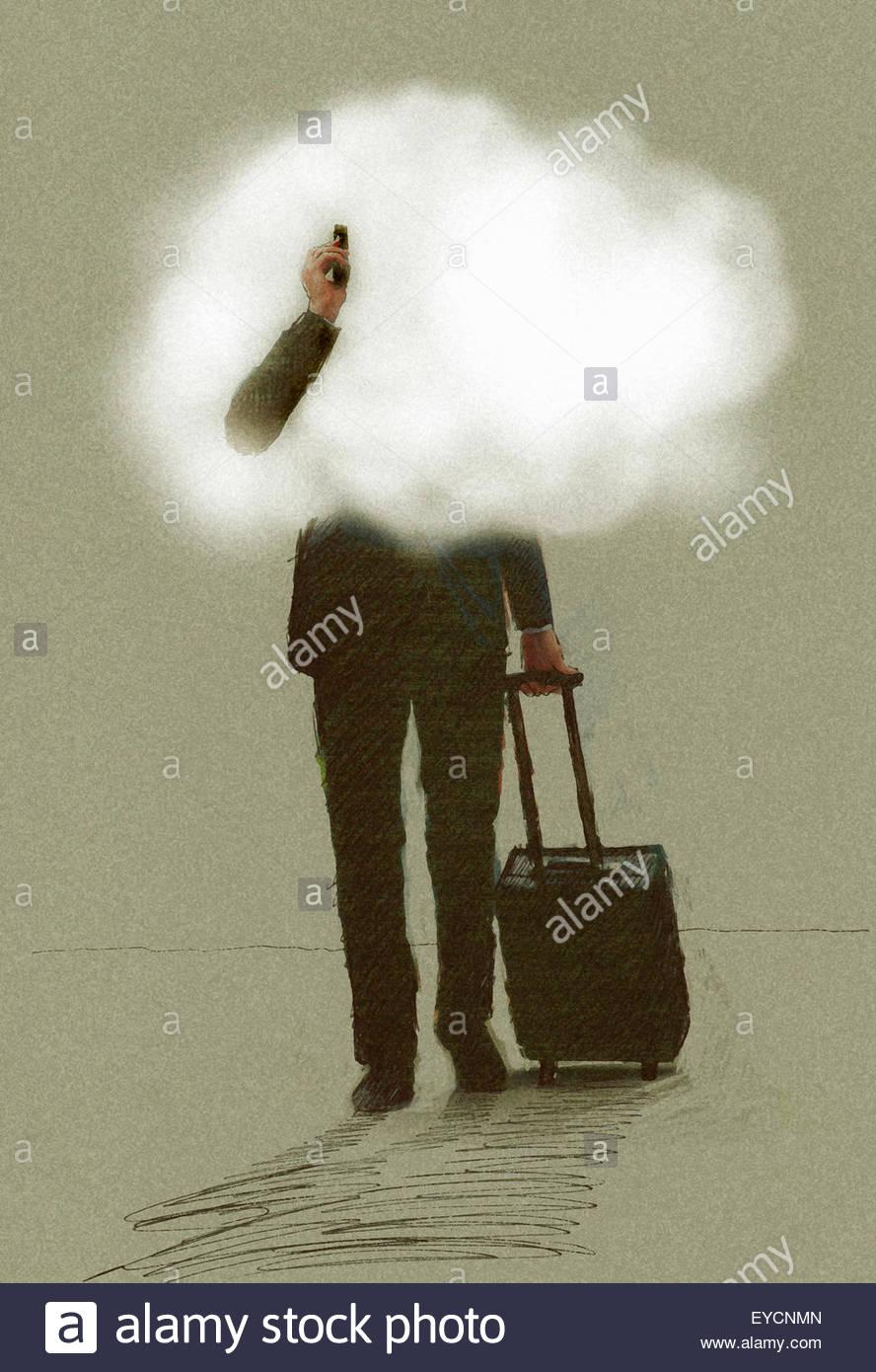 Geschäftsmann unterwegs mit Handy ziehen Koffer mit Kopf in den Wolken Stockbild