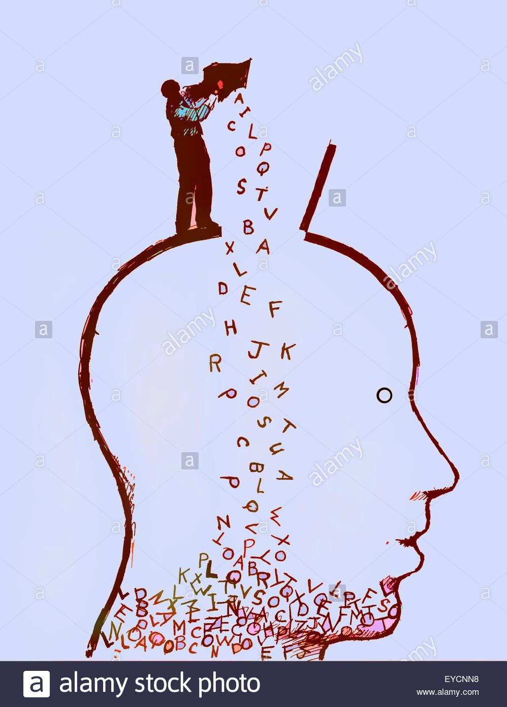 Mann strömenden Kasten der Buchstaben in der Kopf des Mannes Stockbild
