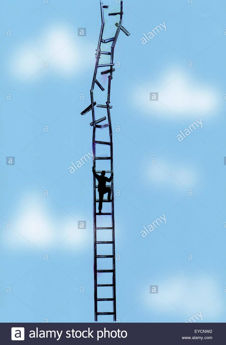 Geschäftsmann Klettern bröckelnden Leiter Stockbild