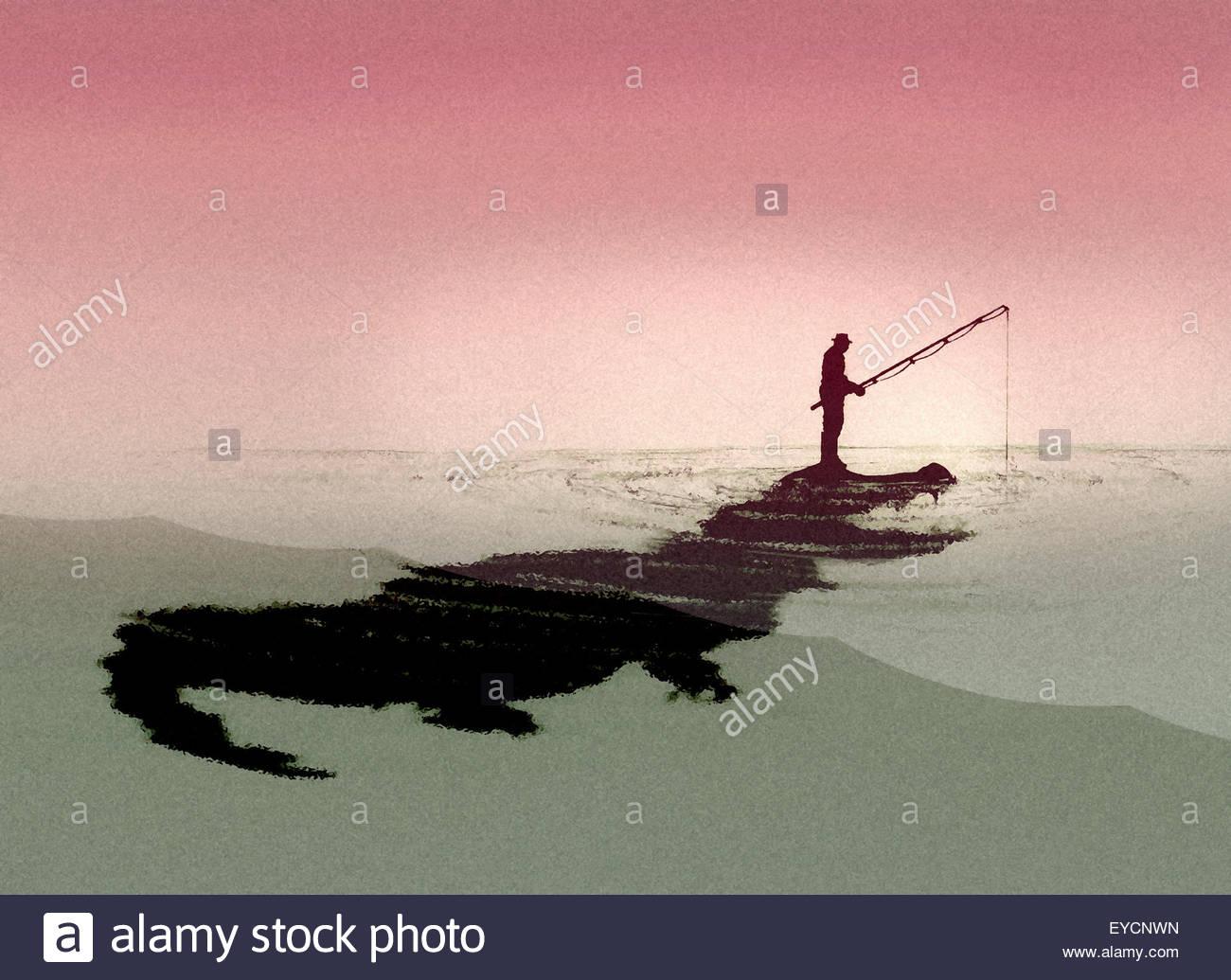Mann Angeln ahnungslos von Krokodil unter Wasser Stockbild
