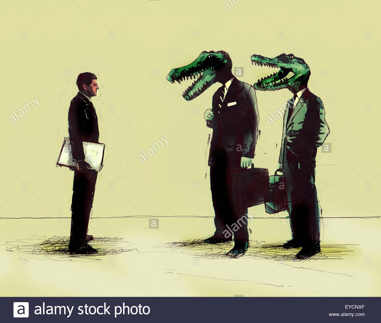 Unternehmer treffen Unternehmer mit Krokodilsköpfen Stockbild