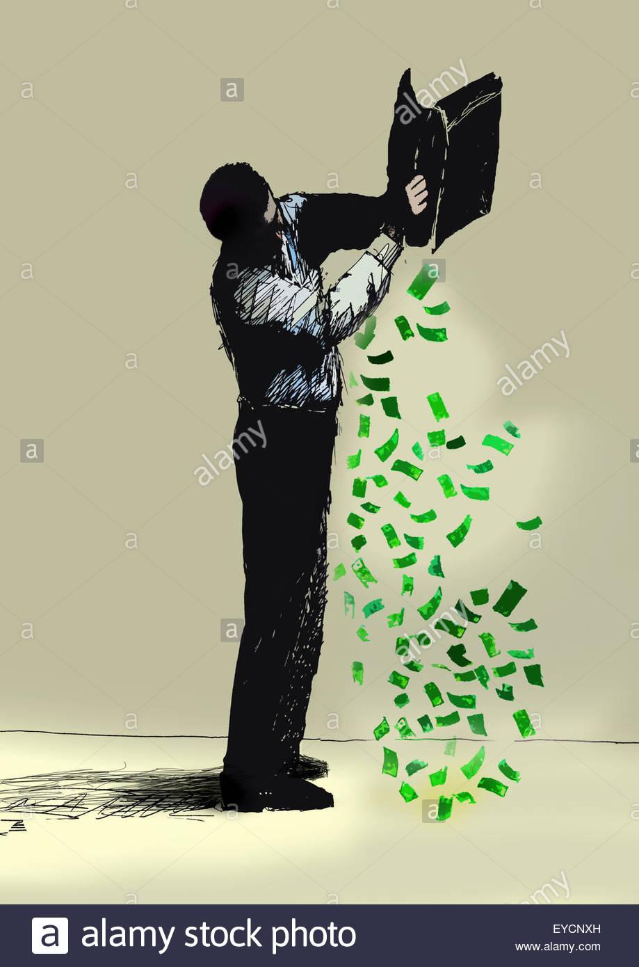 Geschäftsmann aus Geld von Aktenkoffer kippen Stockbild