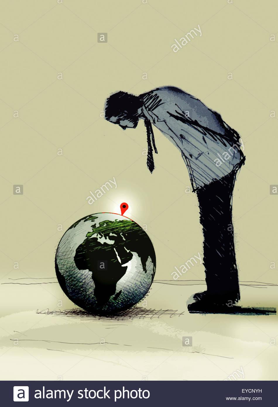 """Blick auf """"bist du hier"""" Zeichen auf Globus Geschäftsmann Stockbild"""