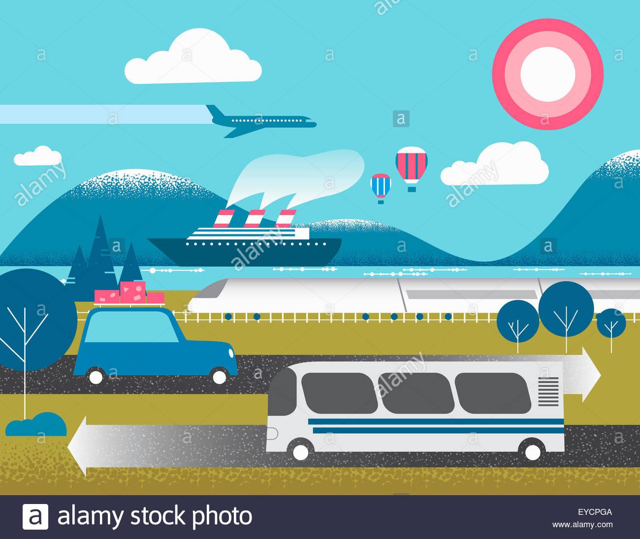 Verschiedene Formen des Verkehrs Stockbild