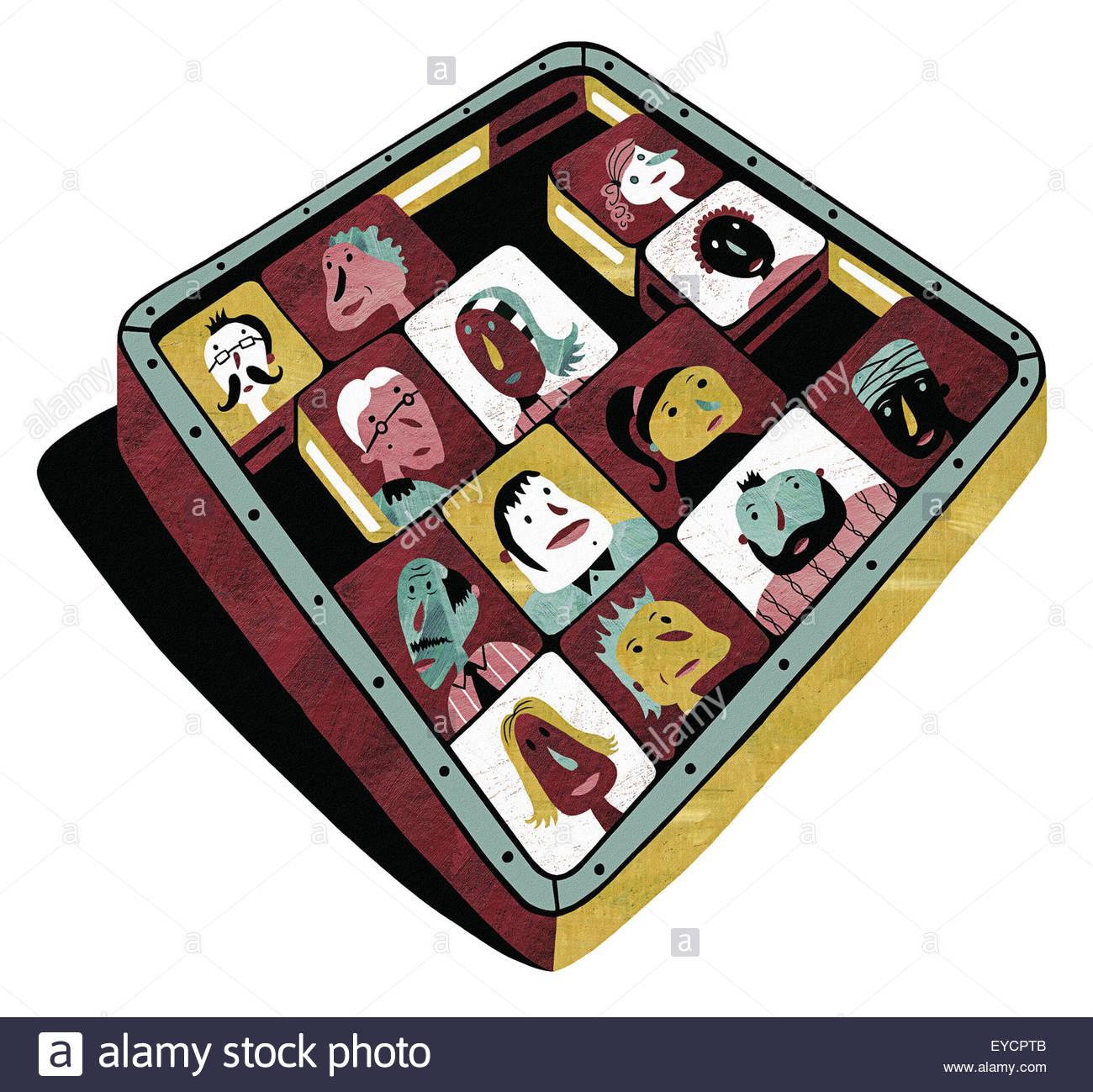 Quadratische Kachel Schiebepuzzle mit Gesichtern von verschiedenen Personen Stockbild
