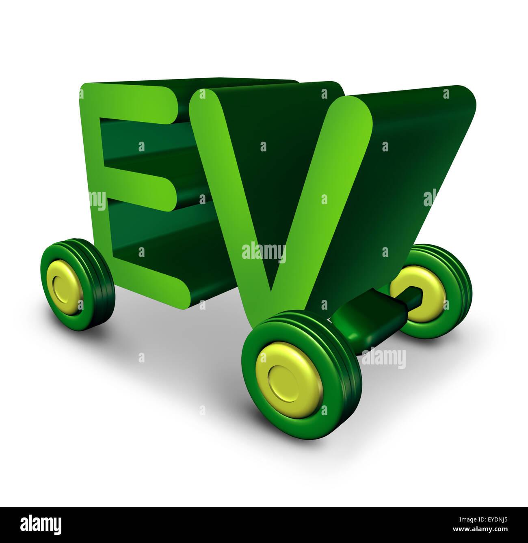 elektrofahrzeug konzept und ev symbol als gr nen buchstaben auf r dern als symbol f r. Black Bedroom Furniture Sets. Home Design Ideas