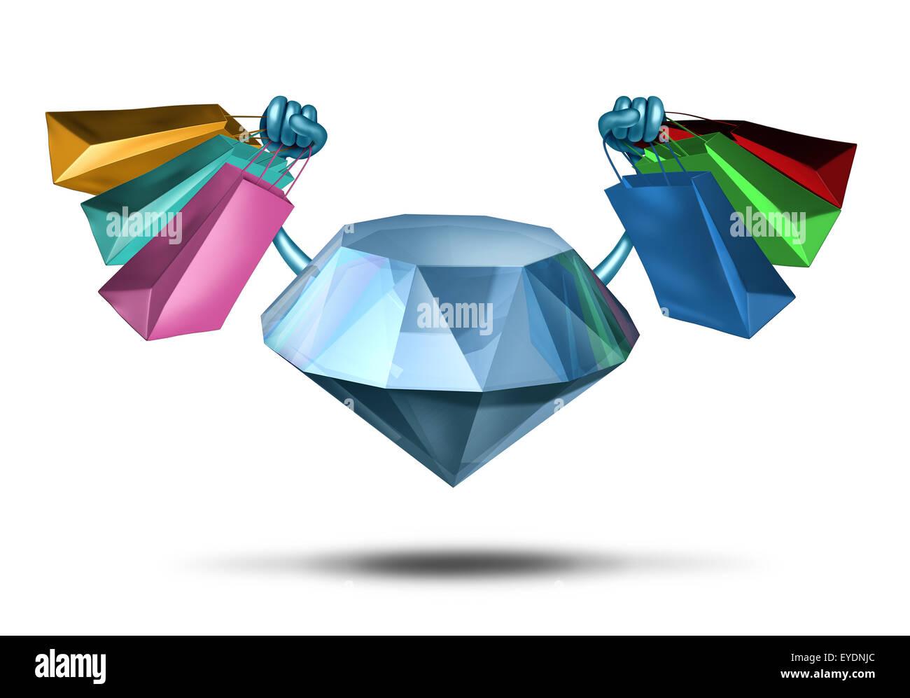 Luxus shopping und hoch Leben Premium-Einkaufsservice als Diamant Charakter hält eine Gruppe von Shoppingbags Stockbild