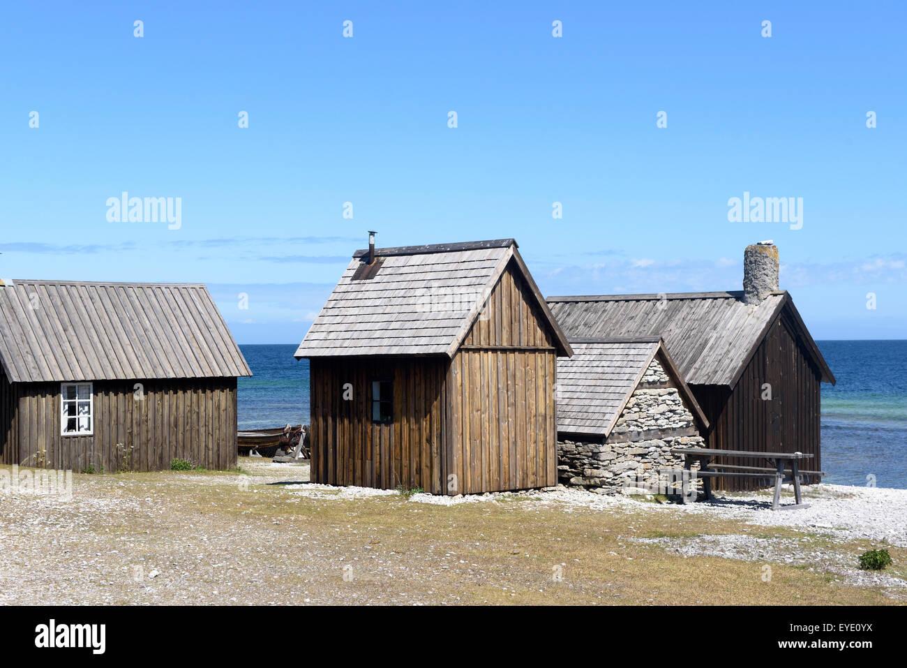 fischers h tten nord ost k ste auf f r insel in der n he von gotland schweden stockfoto bild. Black Bedroom Furniture Sets. Home Design Ideas
