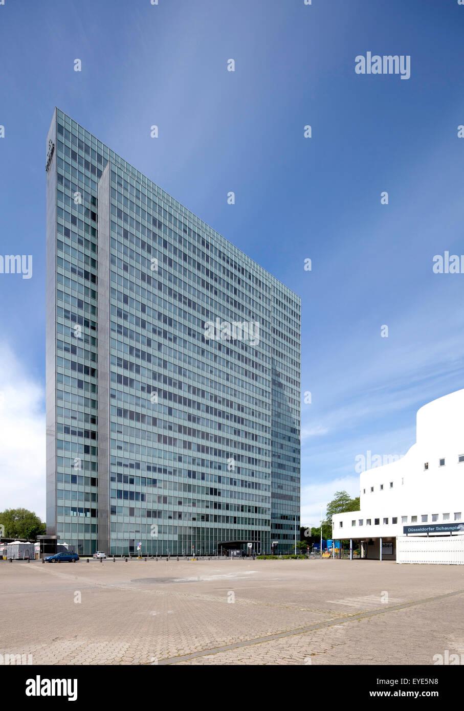 Dreischeibenhaus oder Thyssen Gebäude, Büroturm, Düsseldorf, Rheinland, Nordrhein-Westfalen, Deutschland Stockbild