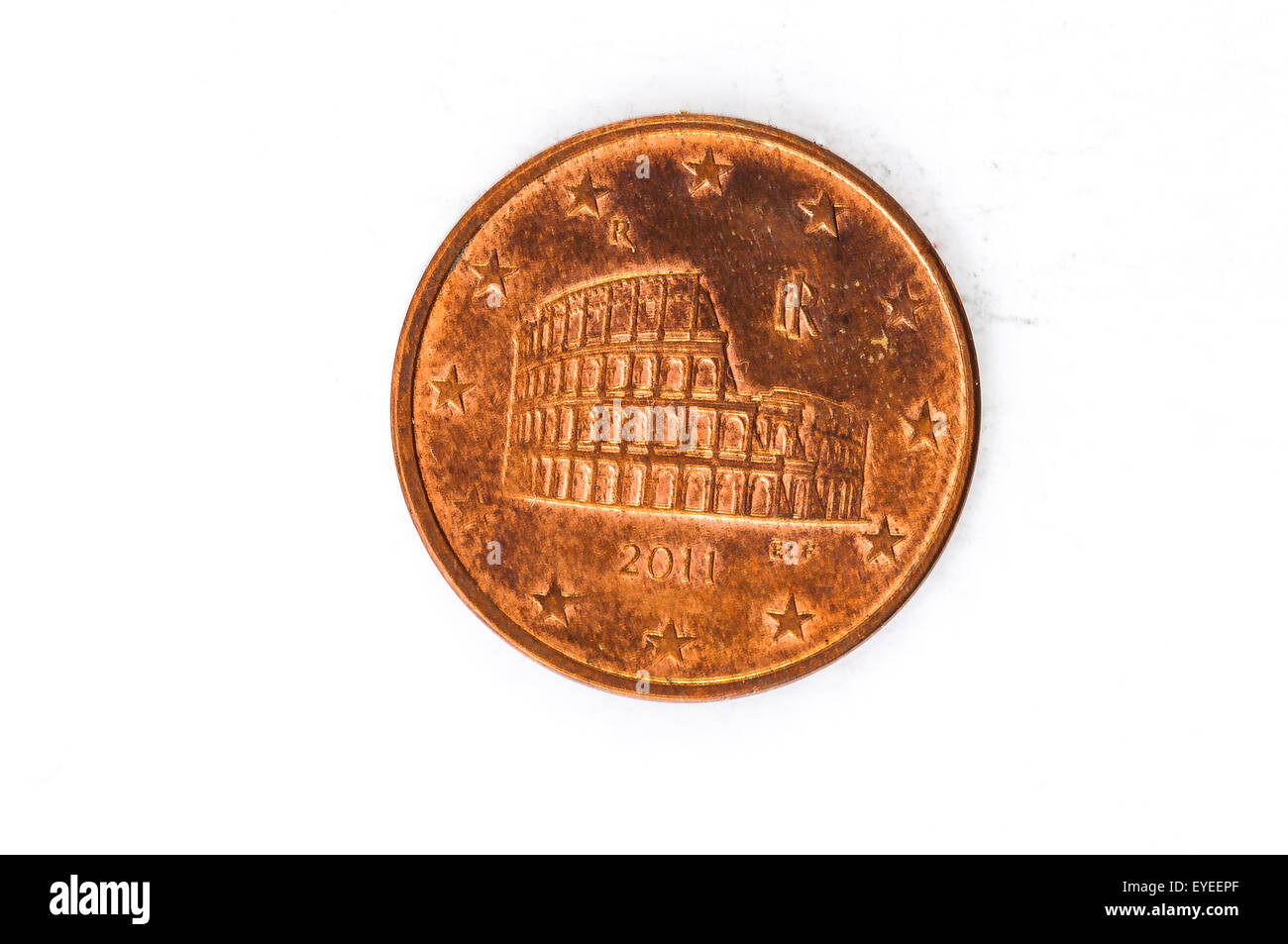 5 Euro Cent Münze Mit Italienischen Forum Romanum Rückseite Used