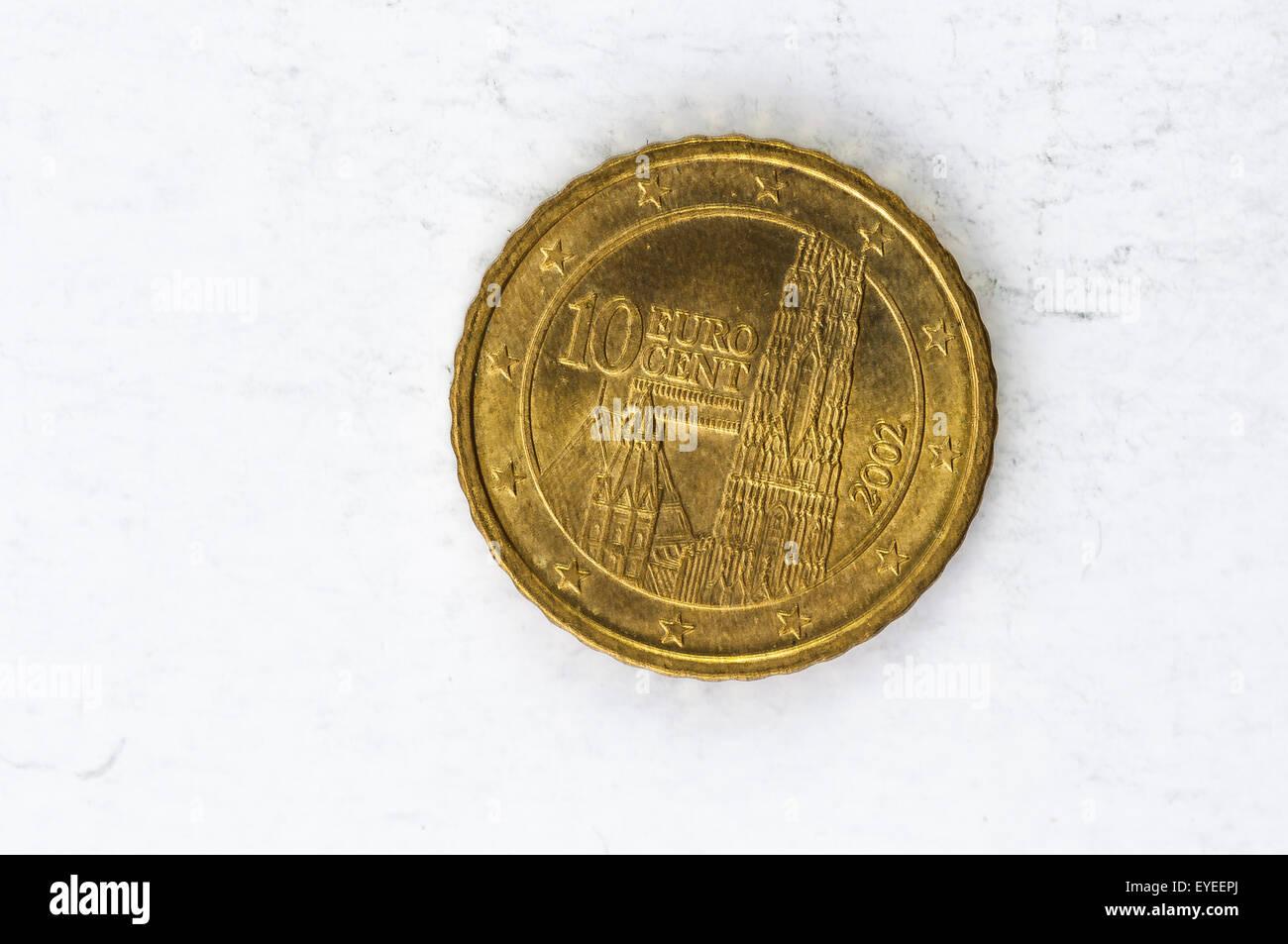 10 Euro Cent Münze Mit österreich Rückseite Used Look Stockfoto