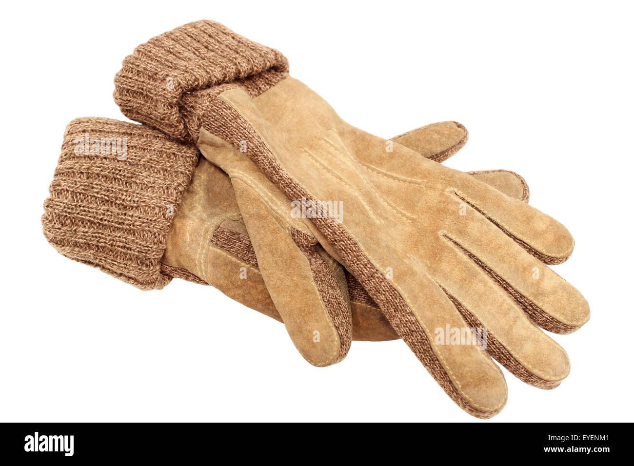 Handschuhe aus Wildleder mit gestrickter Wolle Bündchen isolierten auf weißen Hintergrund. Stockbild