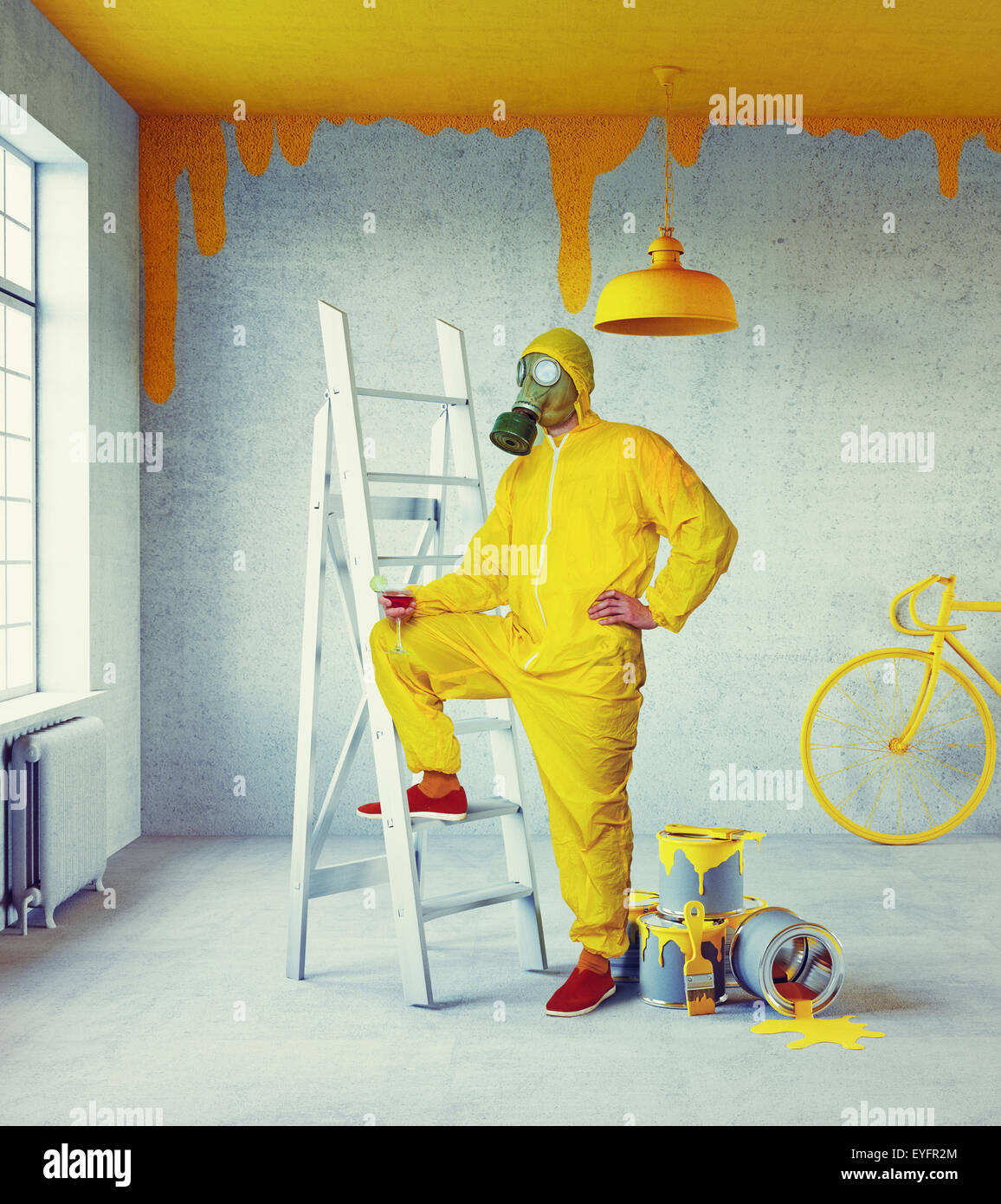 gelbe Maler Stockbild