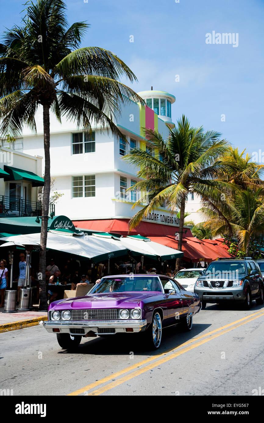 usa, florida, miami, ocean drive; south beach, hell lila farbigen