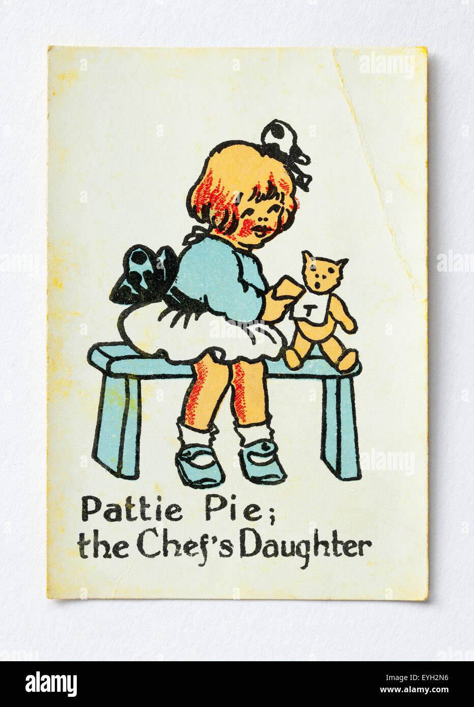 Pattie Pie; die Köche Tochterkarte aus dem glücklichen Familien Spielkarten Spiel Stockbild