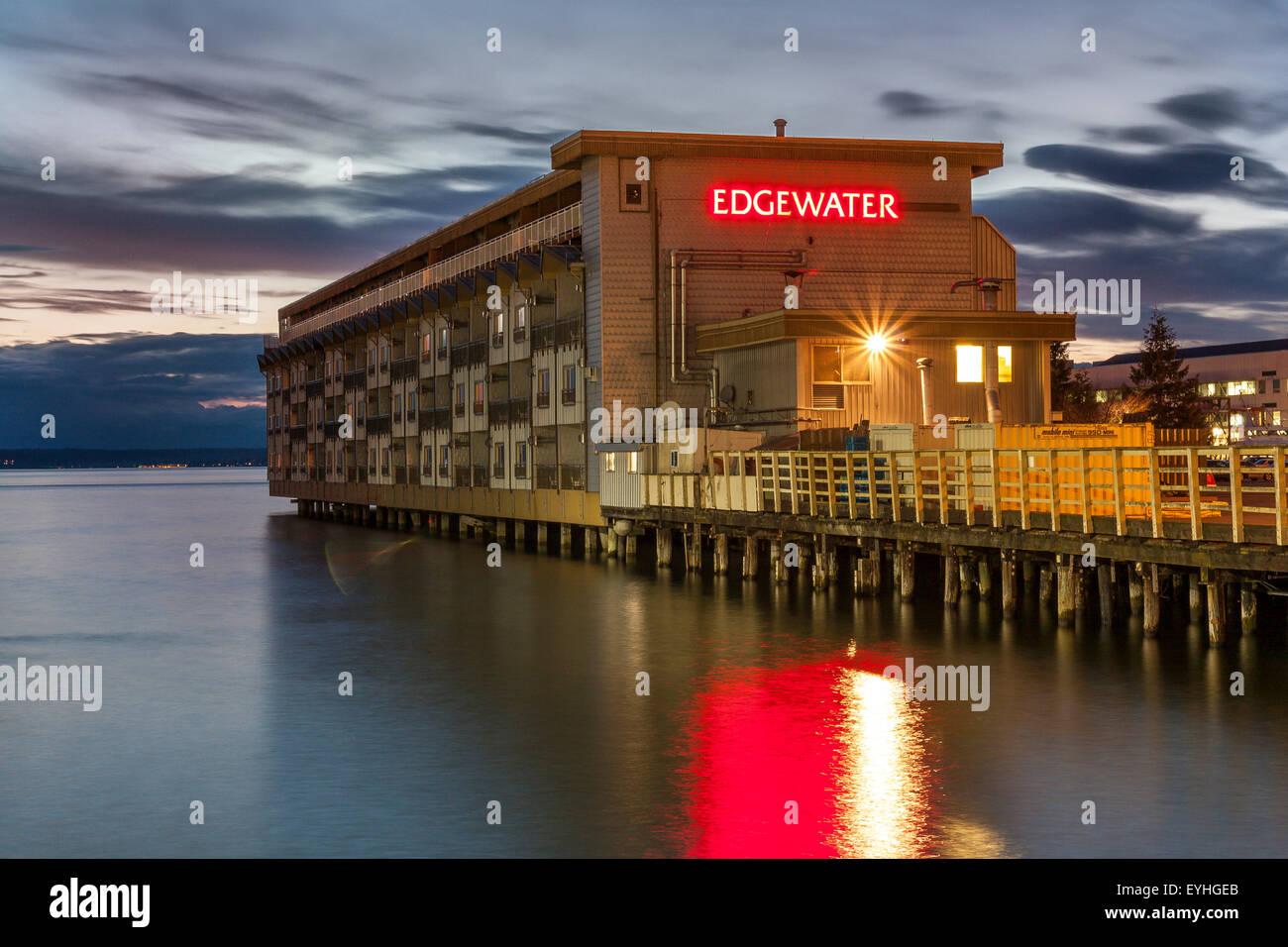 Die legendäre Edgewater Inn, Seattle, einem ikonischen Rock & Roll Hotel vielleicht am berühmt durch Stockbild