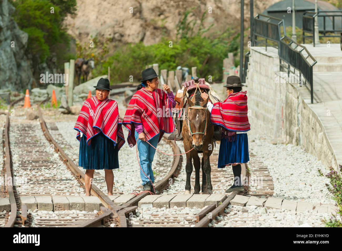 Pony-Express am Sibambe Station, in der Nähe von Riobamba in Ecuador Stockbild