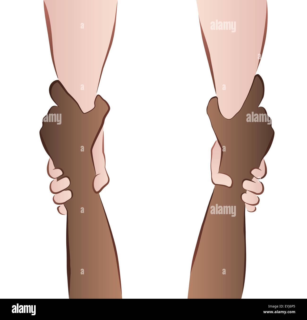 Interracial Zusammenarbeit - Speichern von Hände - Rettung Griff. Abbildung auf weißem Hintergrund. Stockbild