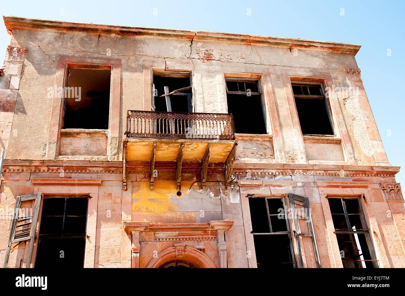 Alte griechische Stilhaus in Cunda ?sland Stockbild