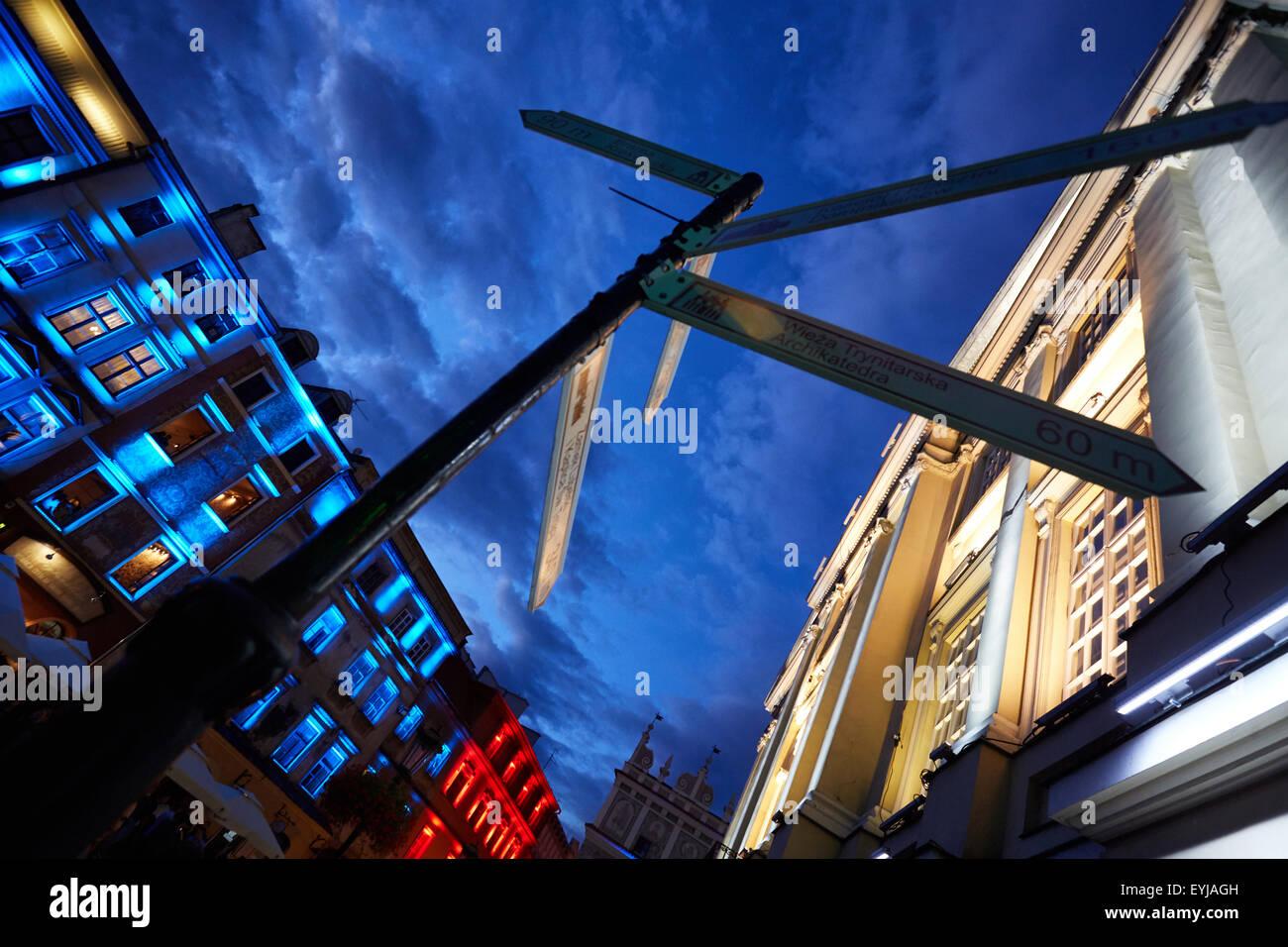 LED-Beleuchtung in Lublin die alte Stadt, Polen, Europa Stockbild