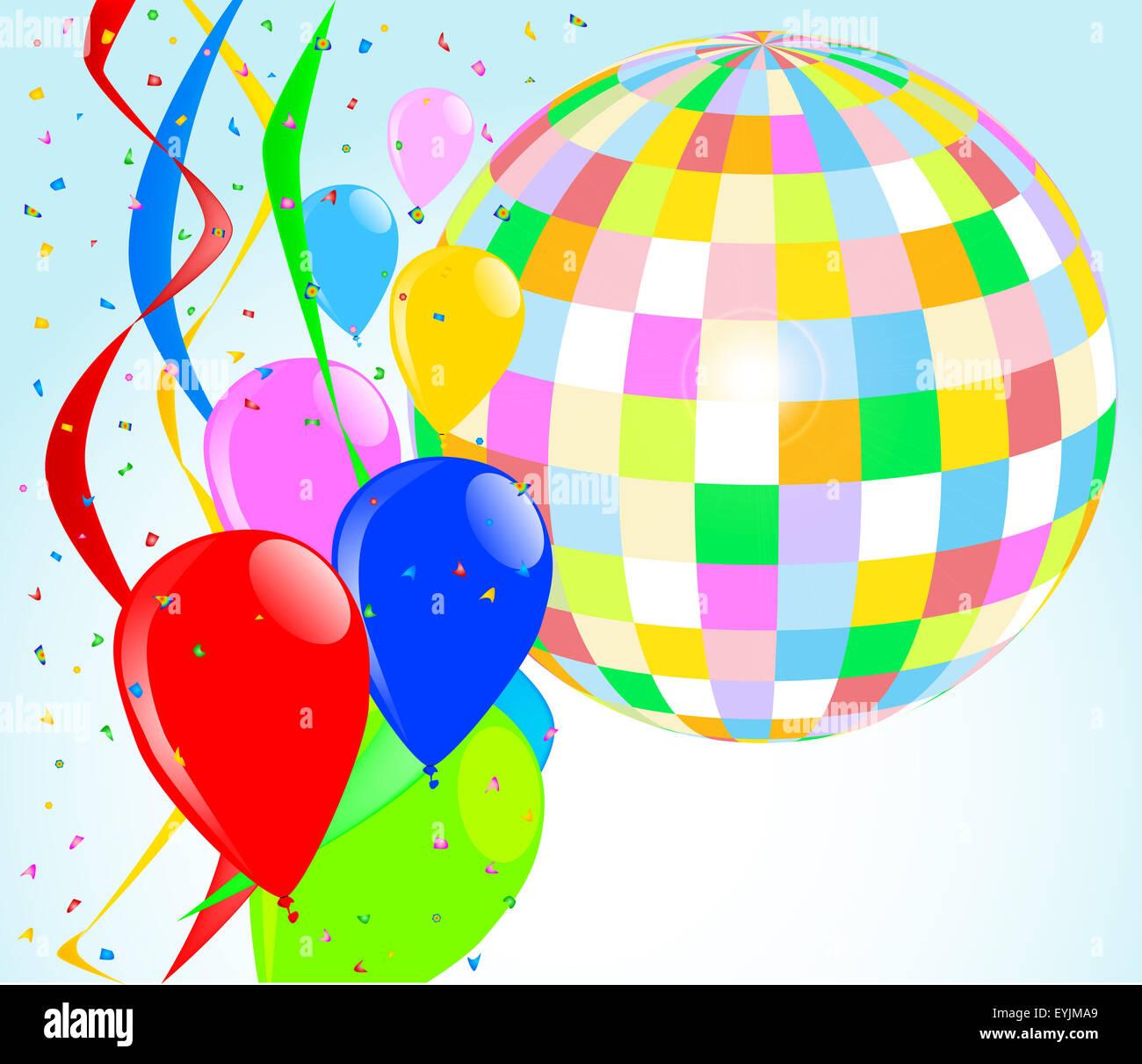 eine partei hintergrund mit luftballons und eine gro e disco kugel stockfoto bild 85848289 alamy. Black Bedroom Furniture Sets. Home Design Ideas