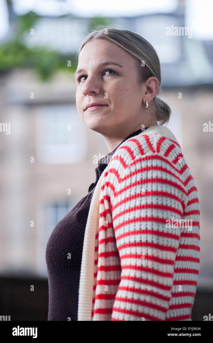 TV-Nachrichten Produzent, Erin Lange, auf dem Edinburgh International Book Festival. Stockbild