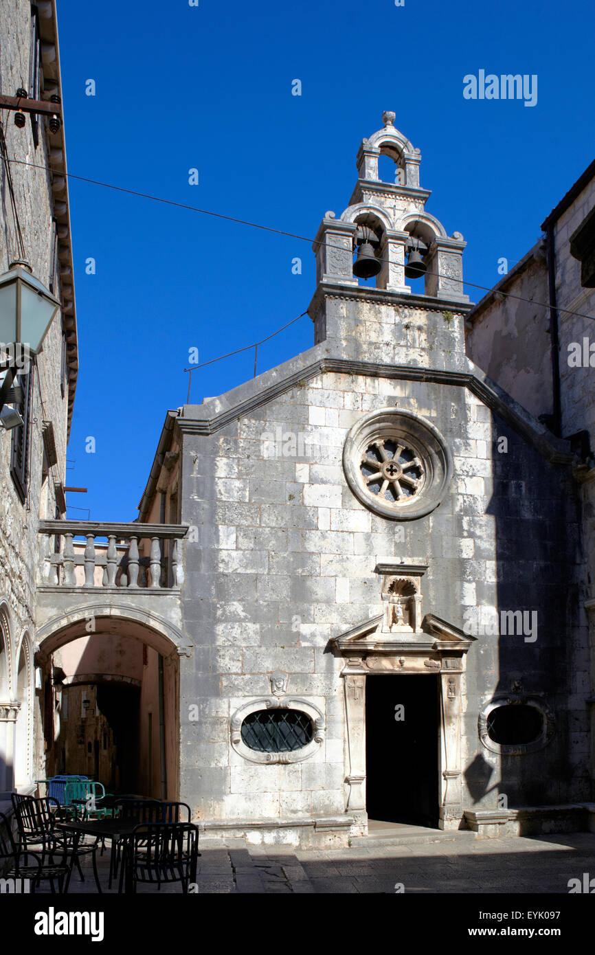 Europa, Kroatien, Dalmacia Provinz, Insel Korcula, Korcula Stadt, Adriatischen Meer, Altstadt Stockbild