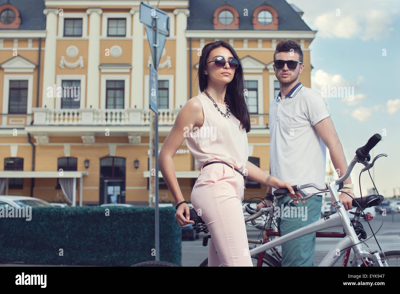 Porträt von paar Biker Stockbild