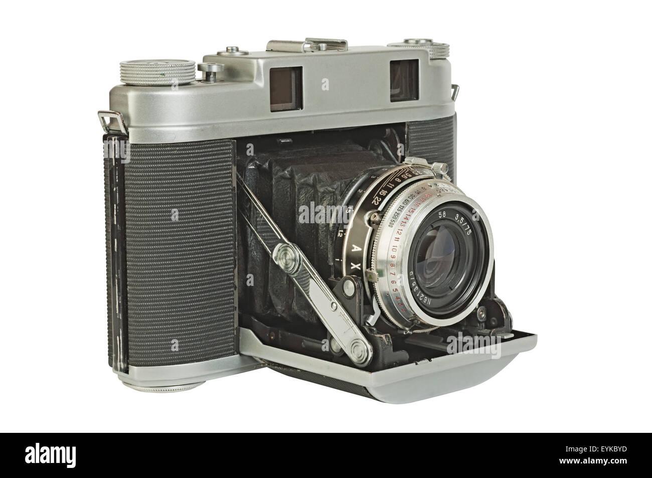 Alte foto kamera einen entfernungsmesser mit akkordeon falten