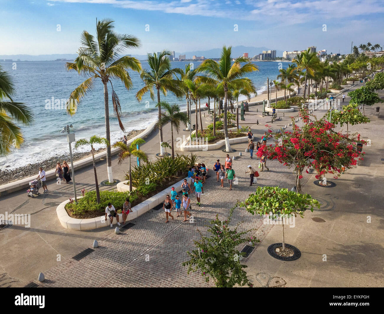 Die Oceanfront Malecon in Puerto Vallarta, Jalisco, Mexiko. Stockbild