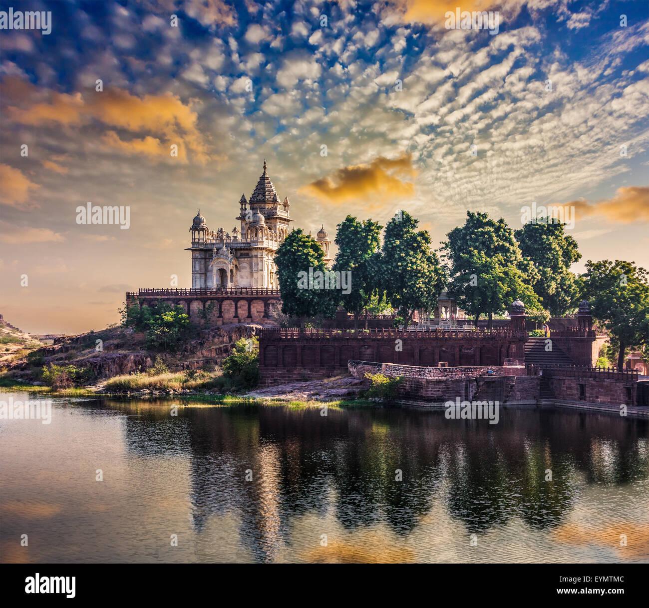 Jaswanth Thada Mausoleum auf dem Sunset, Jodhpur, Rajasthan, Indien Stockbild