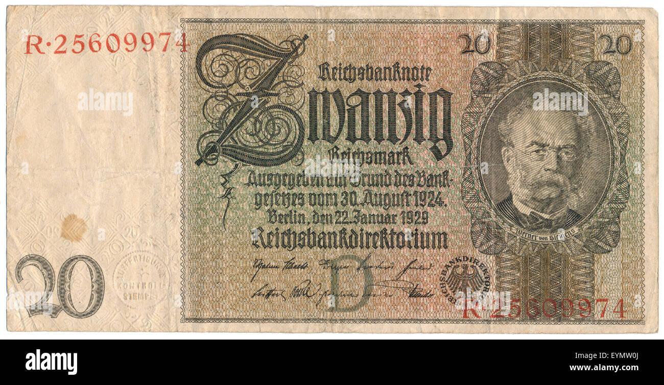 Reichsbank Banknote, Porträt von Ernst Werner von Siemens, 1816-1892, ein deutscher Erfinder, Stockbild