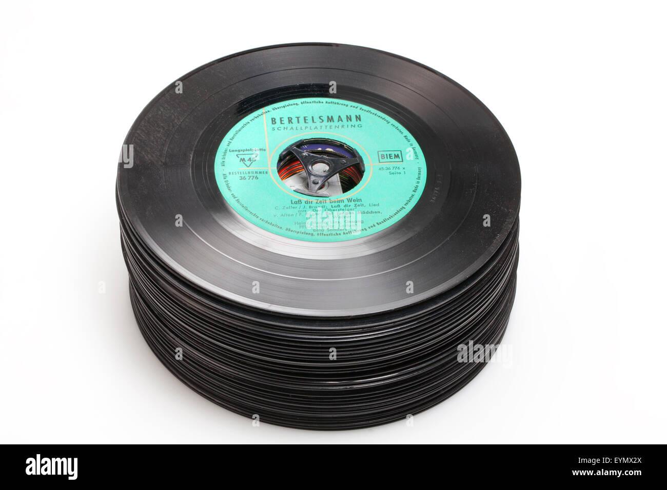 Alte Vinyl Singles, Alte Schallplatten, Singles aus Vinyl Stockbild