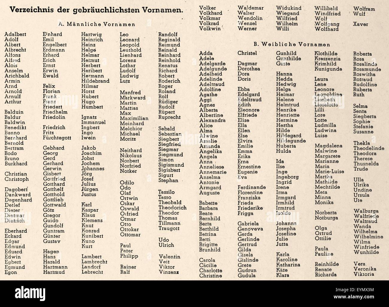 die beliebtesten Vornamen in Deutschland, 1948, Deutschland, Europa Stockbild