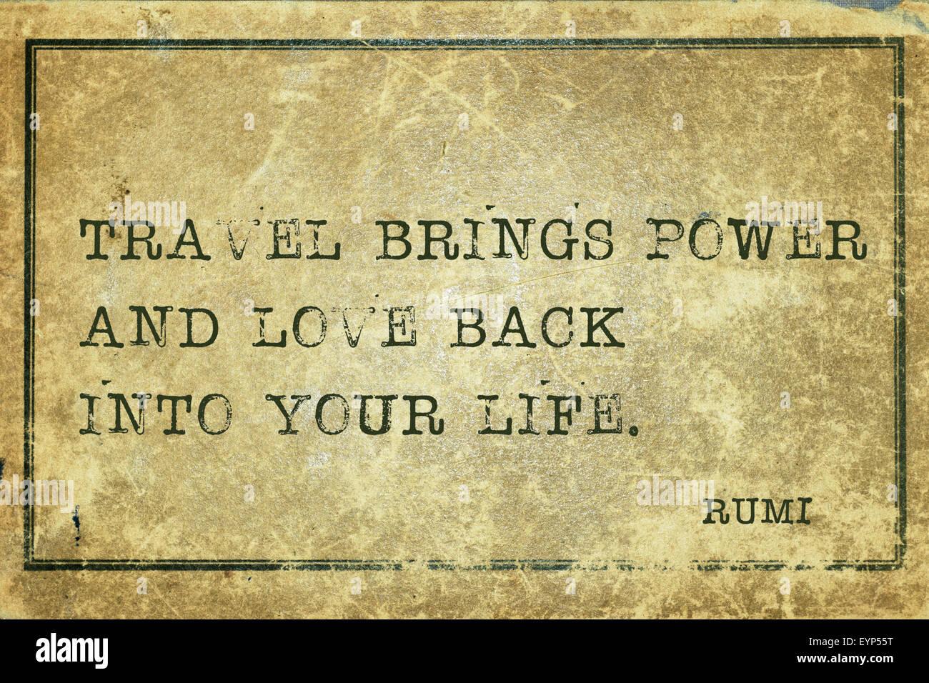 Reisen Bringt Kraft Und Liebe Zuruck Alte Persische Dichter Und Philosoph Rumi Zitat Auf Grunge Vintage