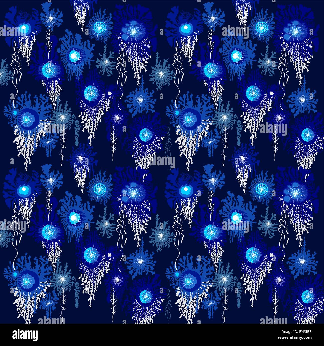 Blaue Blute Nahtlose Moderne Tapetenmuster Vektor Ornament Vektor