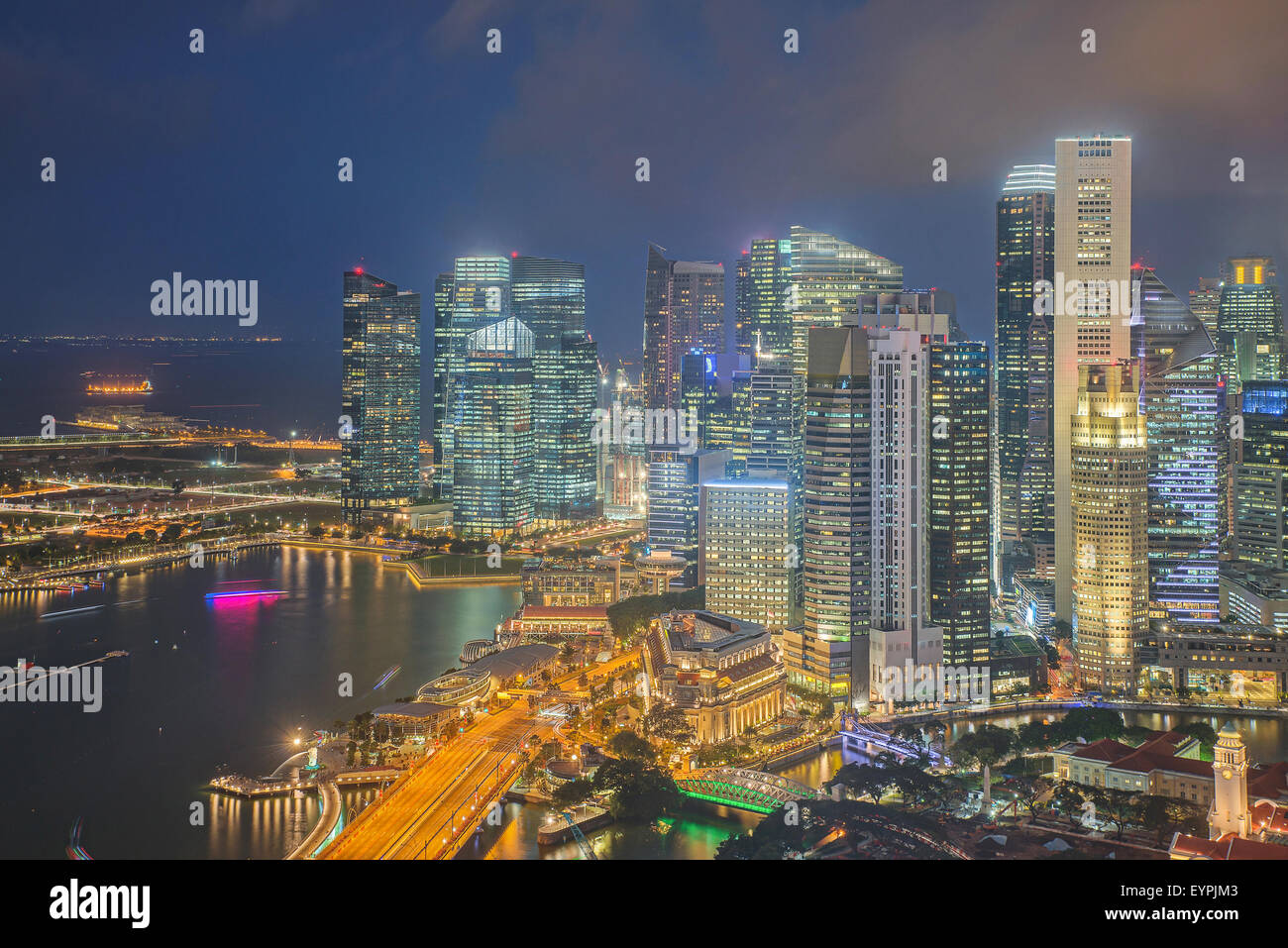 Financial District und Geschäftshaus in Singapur Stockbild