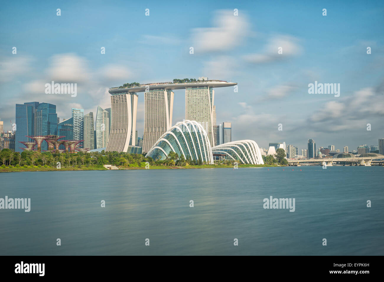Skyline von Singapur im moring Stockbild