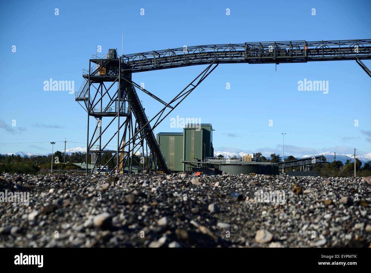Förderband Gürtel Infrastruktur für Loadout Einrichtungen in einem Kohlebergwerk Stockbild
