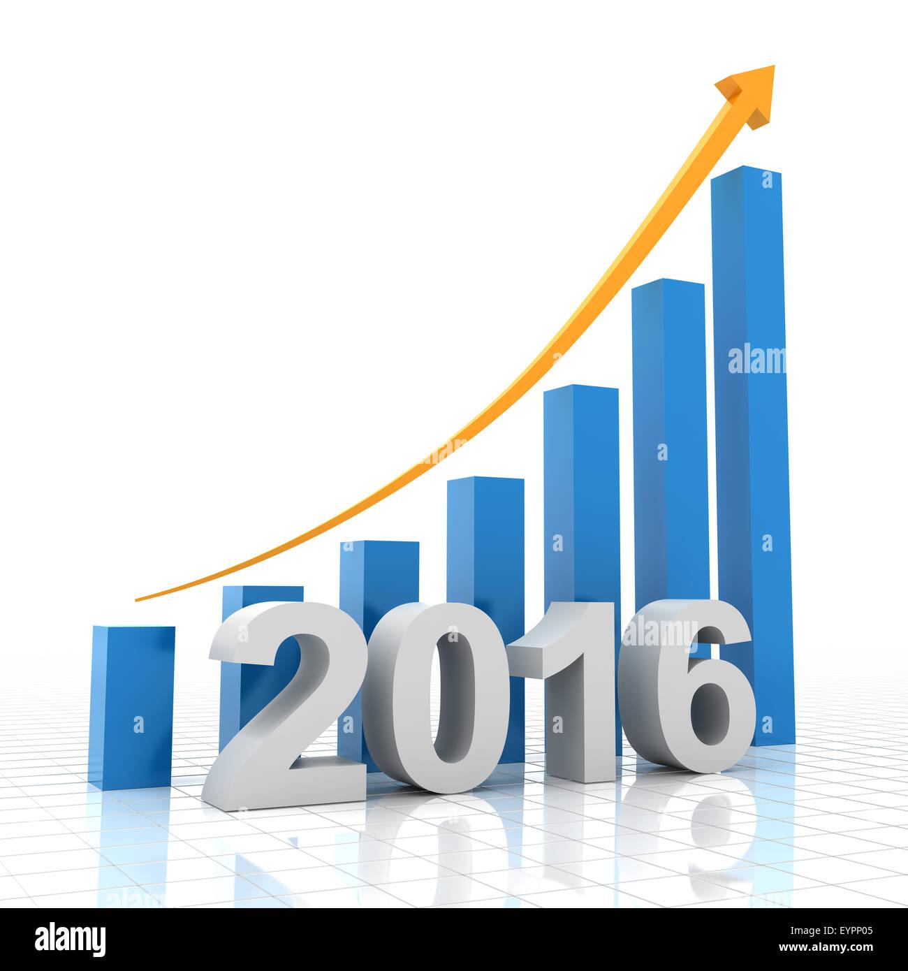 Wachstumskurve für 2016, 3d render Stockbild