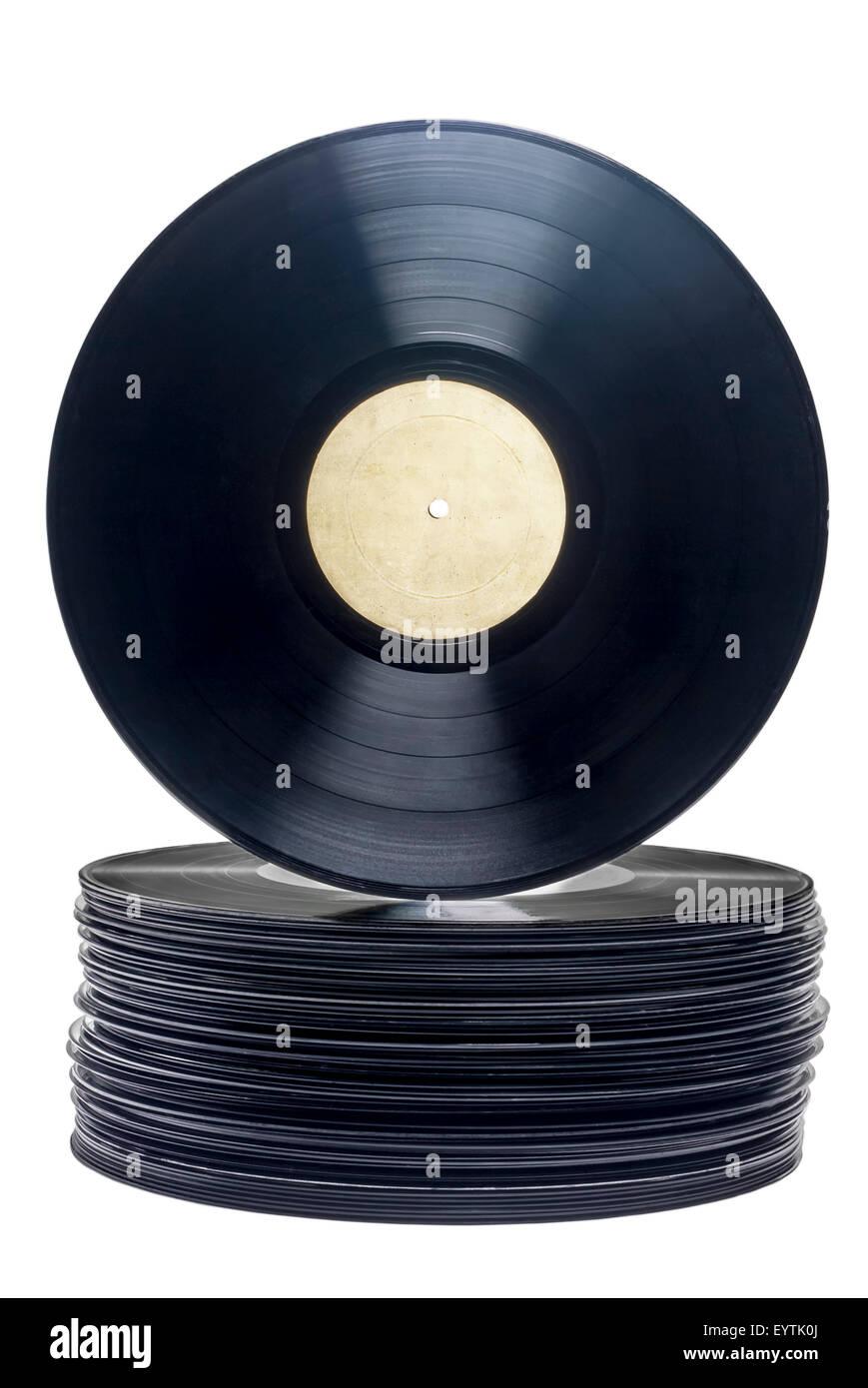 Stapel von Vinyl, lange spielen Datensätze mit Beschriftung auf weißem Hintergrund. Stockfoto