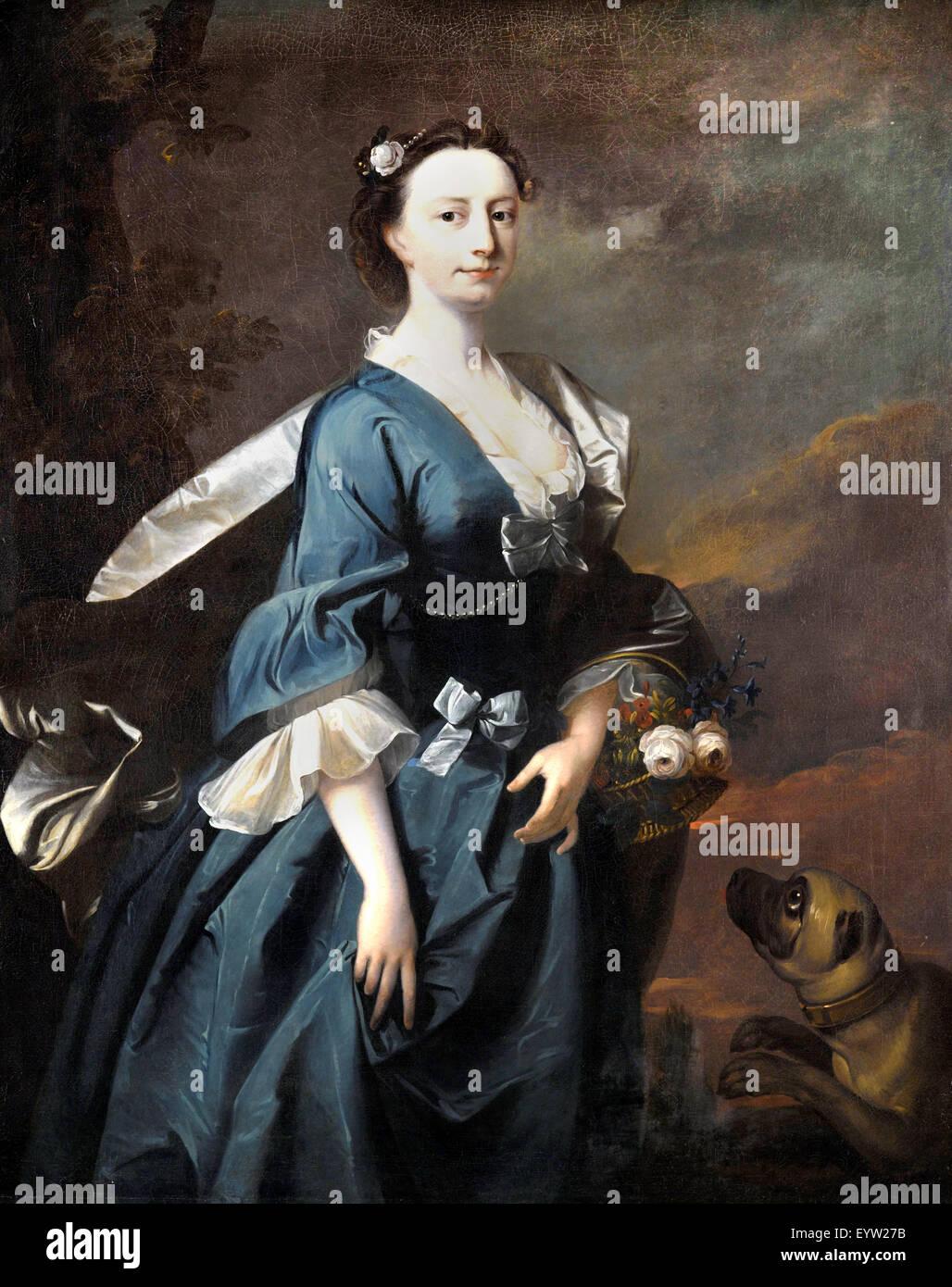 Thomas Hudson, Mrs John Wendt. Ca. 1745. Öl auf Leinwand. Brooklyn Museum, New York, USA. Stockbild