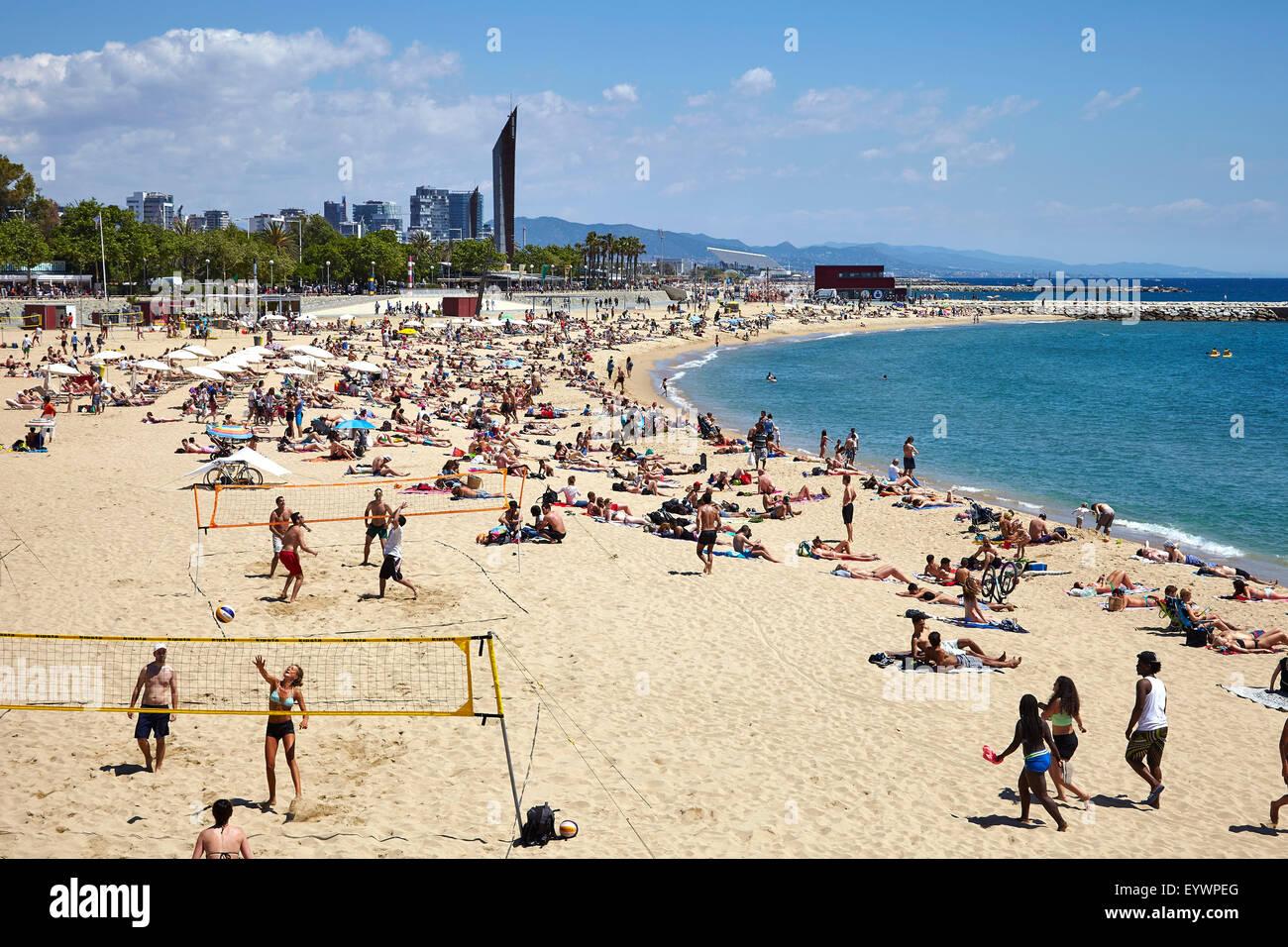Strand Von Barcelona Barcelona Katalonien Spanien Europa
